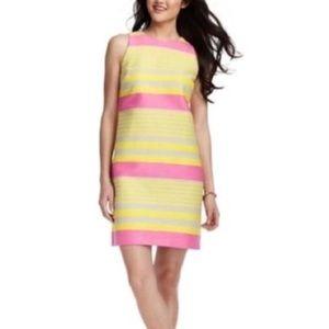 NWOT LOFT Yellow Pink Striped Classic Shift Dress